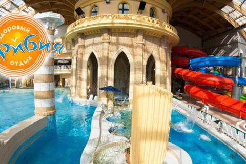 День отдыха в будни или выходные в аквапарке с посещением банного комплекса в центре семейного отдыха «Карибия». Скидка до 63%